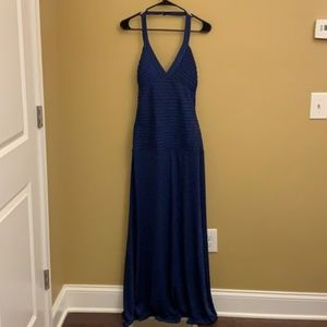 NWT Max and Cleo blue halter gown